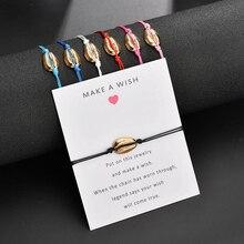 Sale Adjustable Shell Handmade Bracelet For Women Men Card Red Black String Jewelry