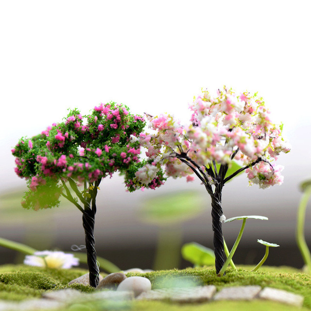 Plastic Mini Simulation Trees Willow Sakura Miniatures  Kawaii  Microlandscape Setting For Garden 1PC New Garden Figurines