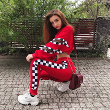 Women 2 Pieces Sets Red Color Hoodies Sweatpants Fashion Female Loose Pullover