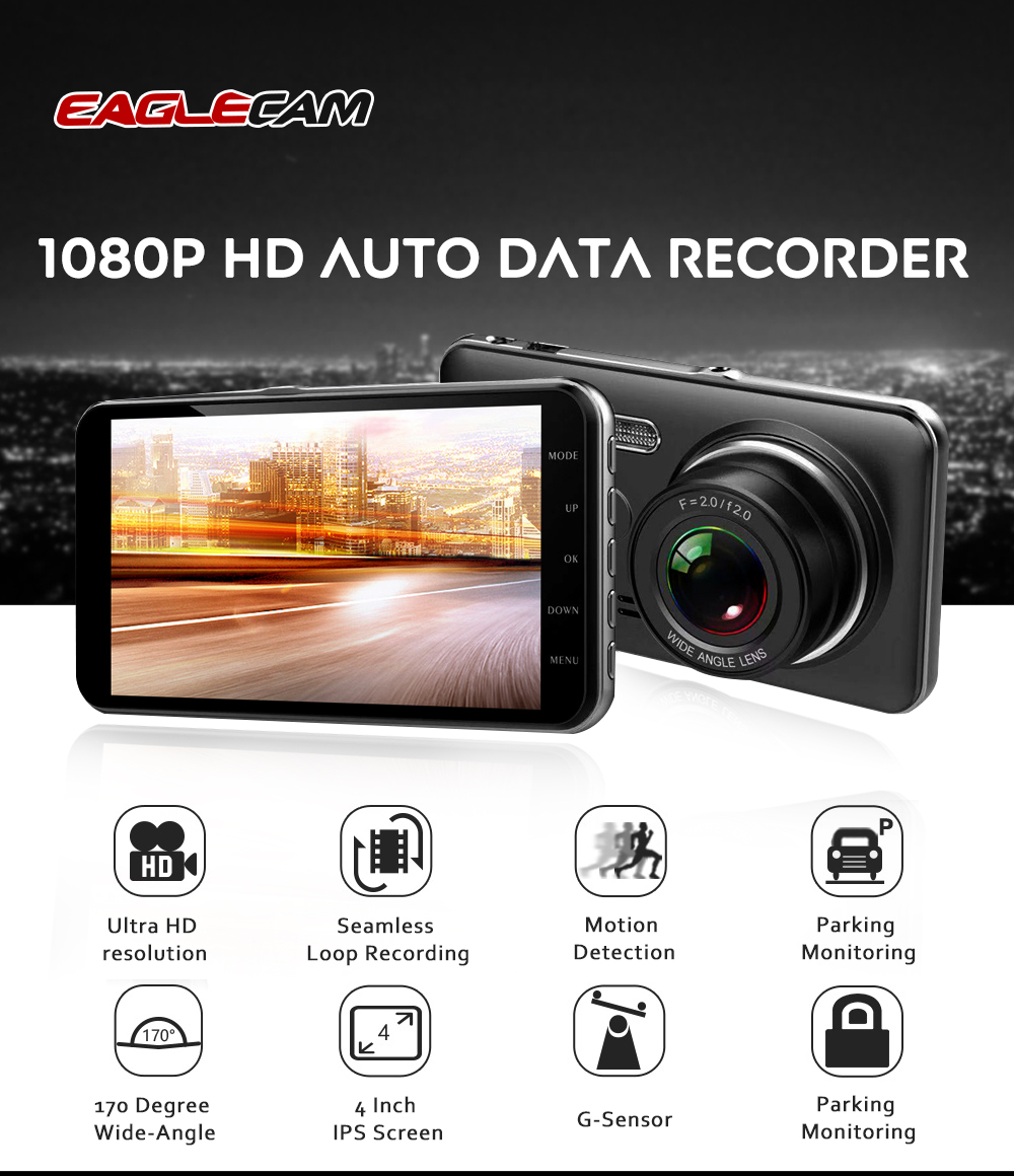 Image 4 - Car Dvr Camera 4.0 Inch Screen Full HD 1080P Dual Lens with Rear View Dashcam Auto Registrar Car Video Recorder DVRs Camcorder-in DVR/Dash Camera from Automobiles & Motorcycles