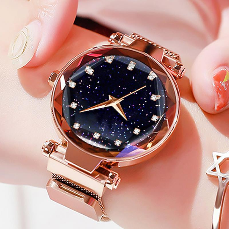 Fashion Women Starry Sky Watch Metal Mesh Band Stainless Steel Analog Quartz Wristwatch Adjustable Strap Diamond Luxury Watches đồng hồ gucci dây nam châm
