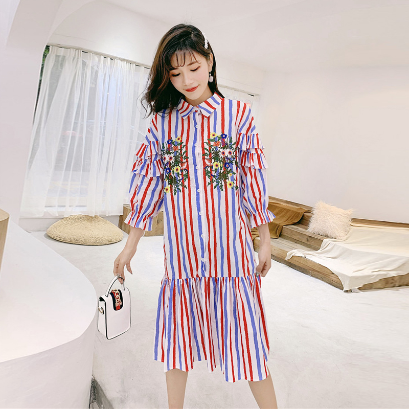 Female long lazy summer the wind refreshing and embroidered striped shirt pleated dress restoring ancient ways