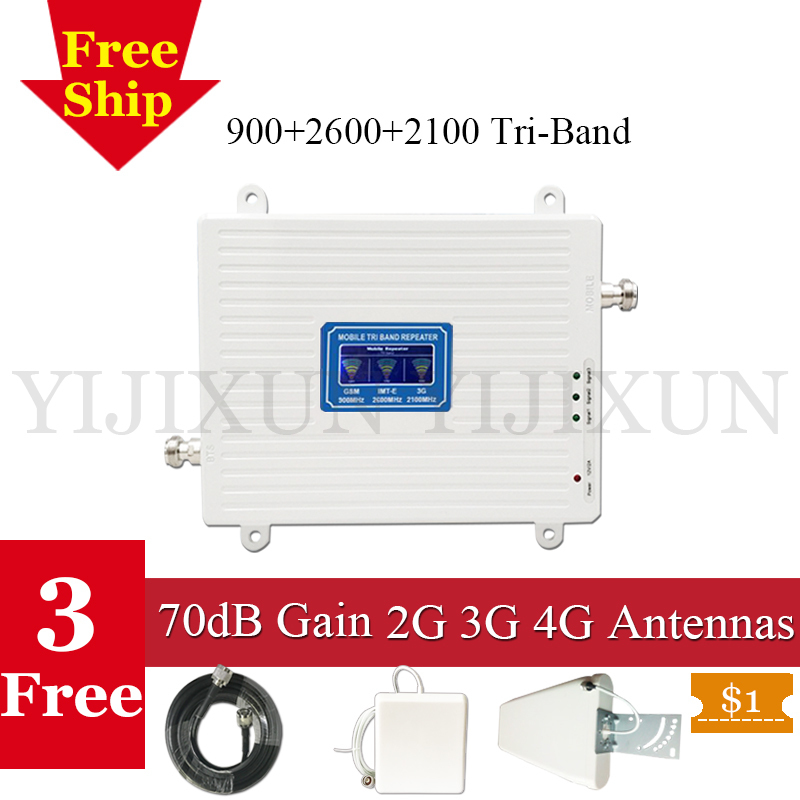 70dB Russia GSM Repeater 900 4G LTE 2600 3G 2100 WCDMA UMTS mobile network booster 2G 3G 4G Tri Band Cell Phone Signal Amplifier70dB Russia GSM Repeater 900 4G LTE 2600 3G 2100 WCDMA UMTS mobile network booster 2G 3G 4G Tri Band Cell Phone Signal Amplifier