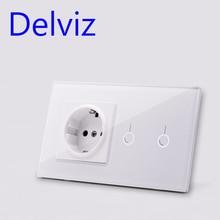 цена на Delviz EU Standard Wall Switch Socket, 2Gangs 1Way/2Way,Model 146,mains jack,Home Touch Screen Light Switch, Crystal Glass Panel