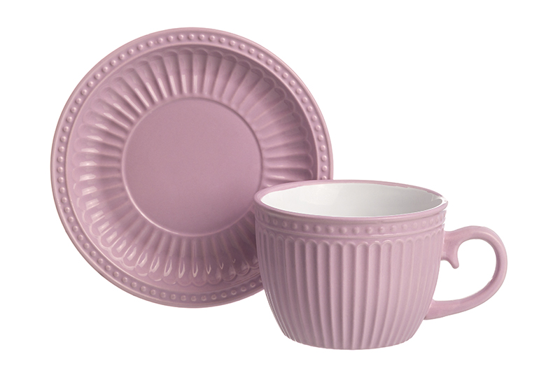 Available from 10.11 Cup with saucer for cappuccino and latte Pastel light - lilac Elan Gallery 160039 saucer state