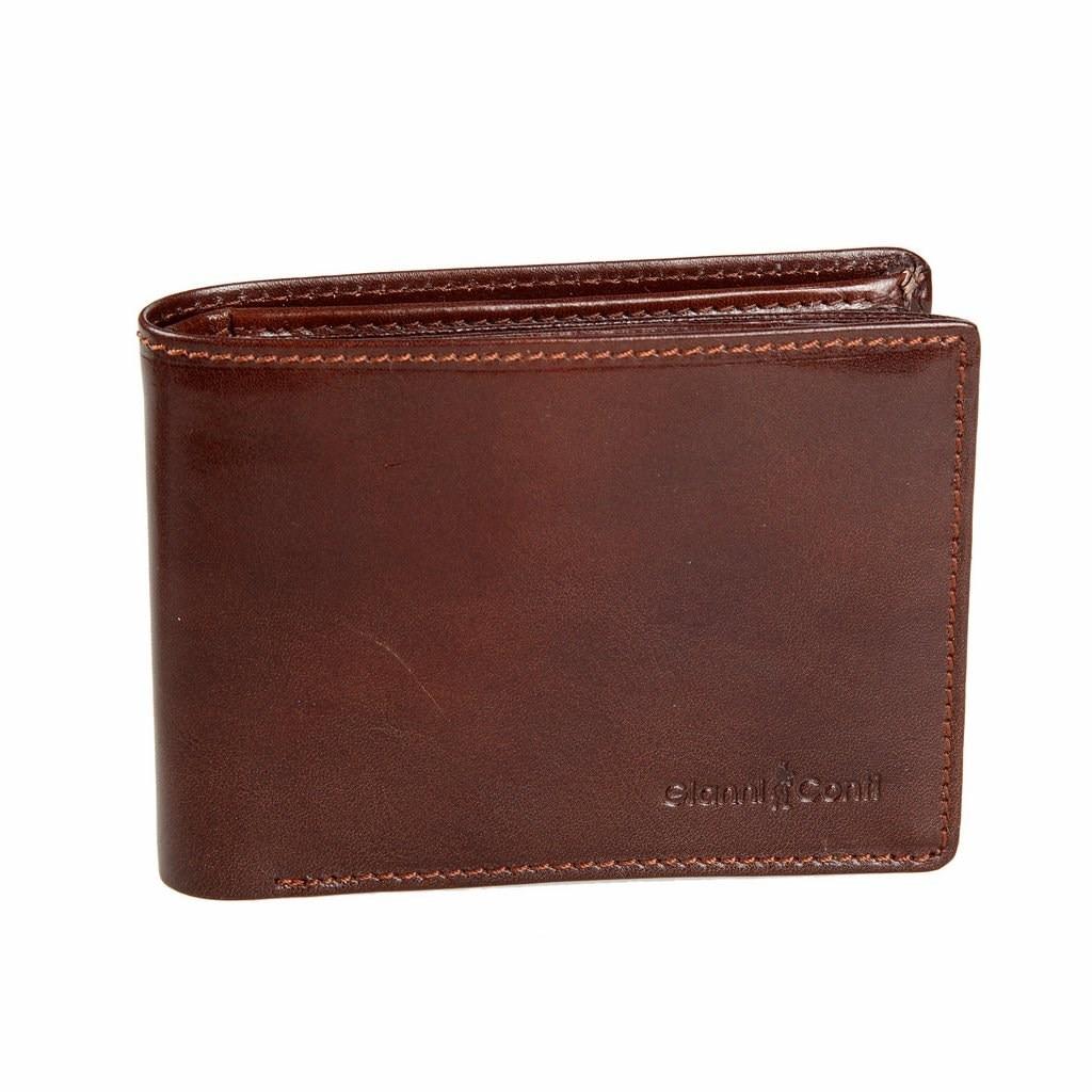 Coin Purse Gianni Conti 907041 Brown simple retro split leather coin purse w belt buckle brown
