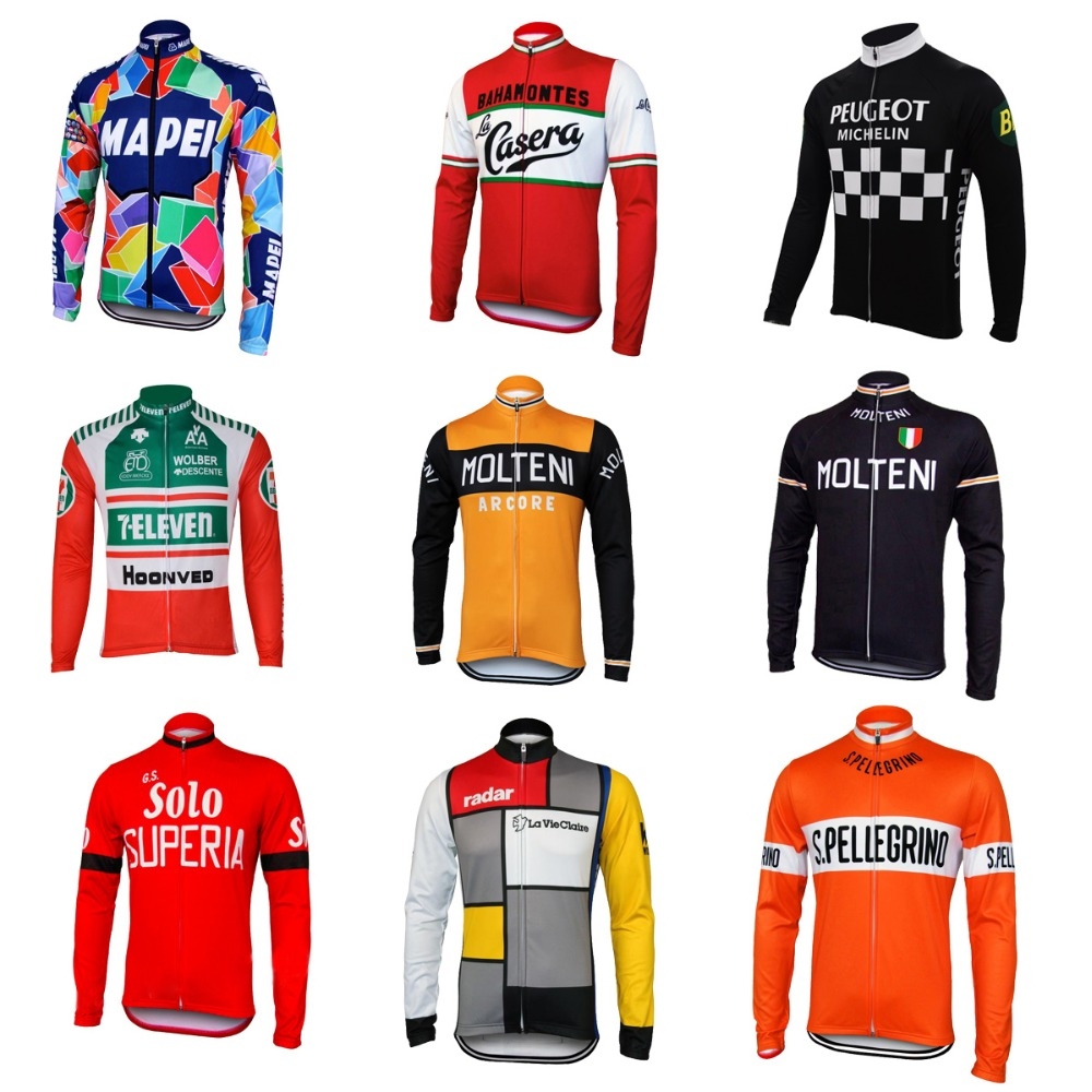 Bicycle-Clothing Bike-Wear Cycling-Jersey Long-Sleeve Orange Fleece MOLTENI Winter Green