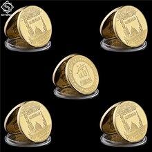 5PCS Arabia Saudita II Islam Musulmano Haj Allah Bismillah Corano Oro Asiatico Valore Della Moneta Da Collezione Asiatico