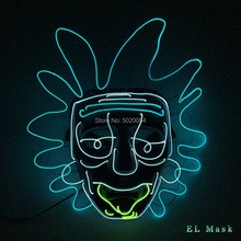 High Quality Movie&TV Rick and Morty EL Wire Glowing Mask Cosplay Rick Flashing Masks Halloween Party Collection Props halloween led skull mask purge masks election mascara costume purge movie el wire dj party lighting glow in dark cosplay masks