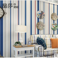 High grade Mediterranean Stripes Wallpaper Kids ,3d Wallpaper Of Boy's Bedding Room Embossed Papel De Parede Home Decor
