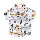 Boys Shirt Baby Floral Cotton Shirt Toddler Blouse Dress Boy Carters Fashion Animal Turn -Down Collar White Top Printing Clothes