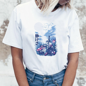 Popculture Otaku Hippie Animal Tee Popculture Women Tshirt T-shirt Japanese Reality Demon Top Female T Shirt Casual