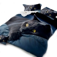 New Black Cat Animal Bedding Set For Children Students 3D Printing Bedclothes Comfortable Duvet And Pillowcase Sets