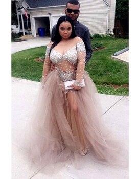 African Champagne Plus Size Prom Dresses 2019 vestidos de fiesta largos elegantes de gala Long Sleeve Imported Party Dress 2