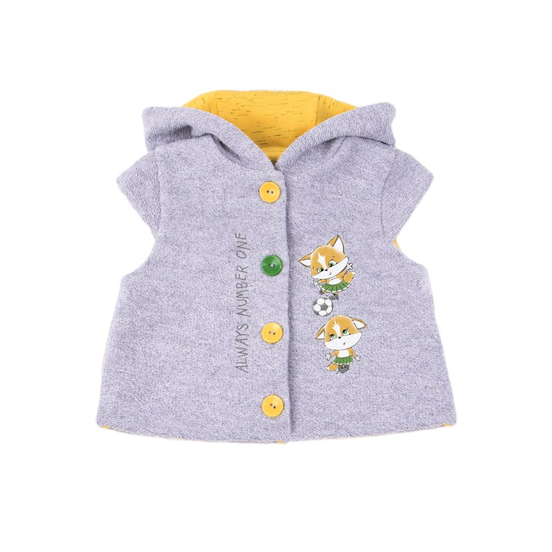 Basik Kids Vest hooded gray melange jumpsuit gray melange