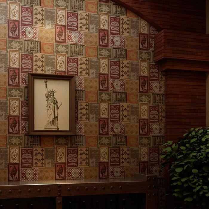 Nostalgia Retro American Personalized Card Poker Wallpaper,hotel Club /clothing Store Coffee Bar Wallpaper