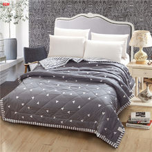 Home textile gray geometric Summer comforter black and white quilts patchwork throw bed 150*200cm 200*230cm full queen bedspread(China)