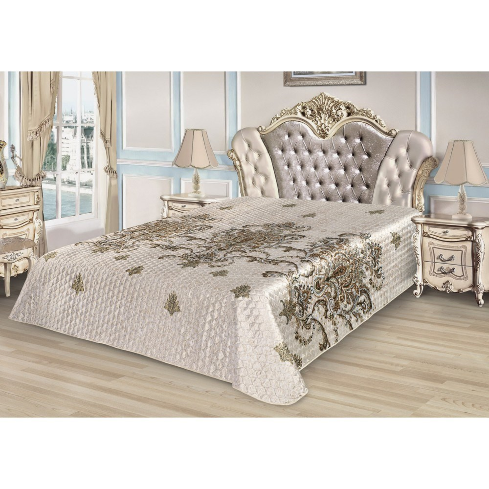 Bedspread Ethel Silk Royal pattern, size 150*220 cm, faux Silk 100% N/E flounce sleeve faux pearl beading lace top