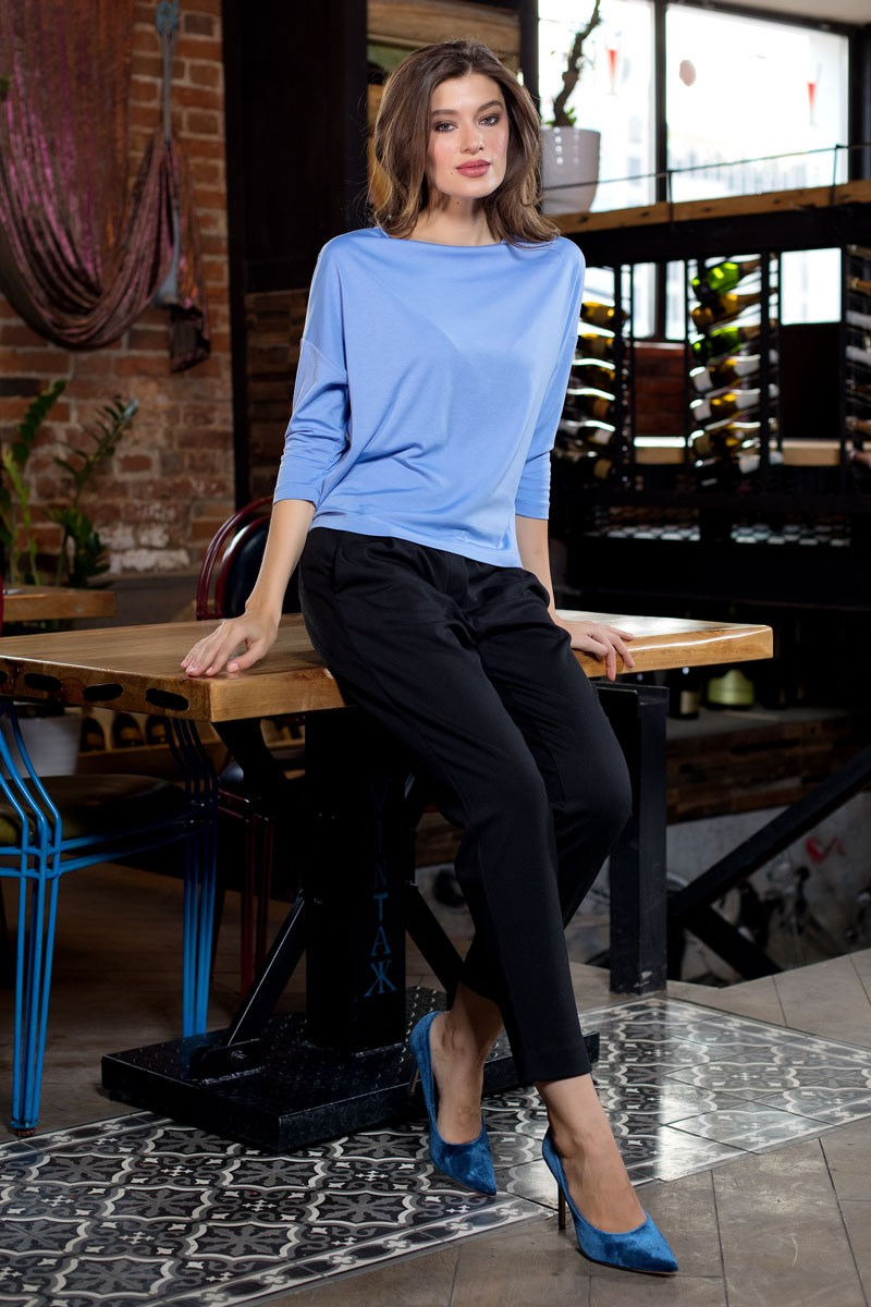 Blouse 1200314-27 grid high low blouse