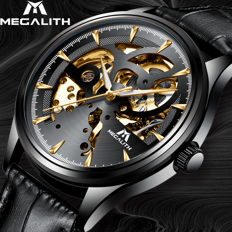 MEGALITH Fashion Leather Strap Men Sports Watch Skeleton Automatic Waterproof Top Brand Luxury Mechanical Watches For Mens ClockMEGALITH Fashion Leather Strap Men Sports Watch Skeleton Automatic Waterproof Top Brand Luxury Mechanical Watches For Mens Clock