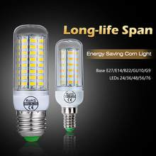 E27 LED Lamp E14 LED Bulb SMD5730 220V Corn Bulb 24 36 48 56 69 72LEDs Chandelier Candle LED Light For H Home Decoration Ampoule(China)