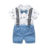 Carters Direct Selling Summer Baby Boys Gentleman Clothing Cotton Sets Bow Shirt Children Outfits Suits Printed +blue Stars Shor