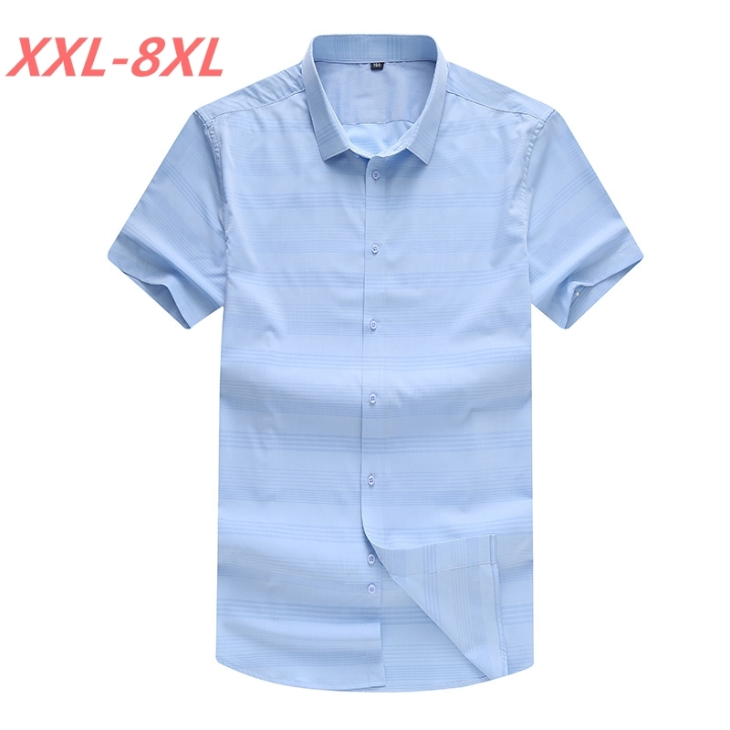 Big Size 8XL 7XL 6XL strped 2018 NEW Men's Plus size clothing short-sleeve shirt casual loose fat fashion short-sleeve shirt