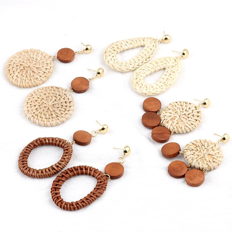 Sale Wooden Rattan Women Earrings Geometric Weave Circle Wedding Statement Jewelry