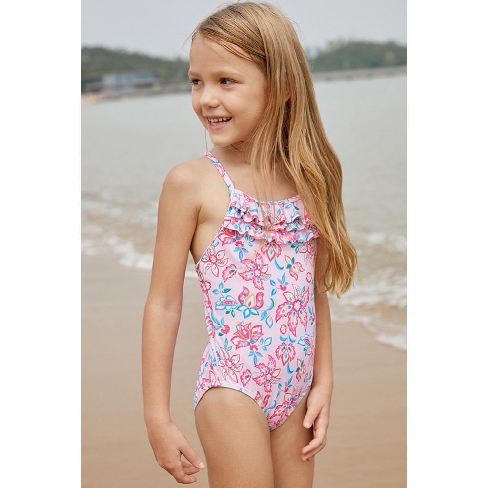 Girls Swimwear Swimsuit Kids Bikini Bathing Suit Solid Color Beachwear Set