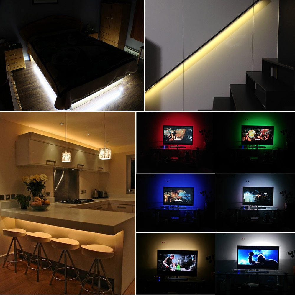 Image 5 - Ribbon RGB LED Strip Battery Operated SMD 5050 Tape Lights Waterproof IR RF Remote Control 4AA Battery Powered Fita LED Stripe-in LED Strips from Lights & Lighting