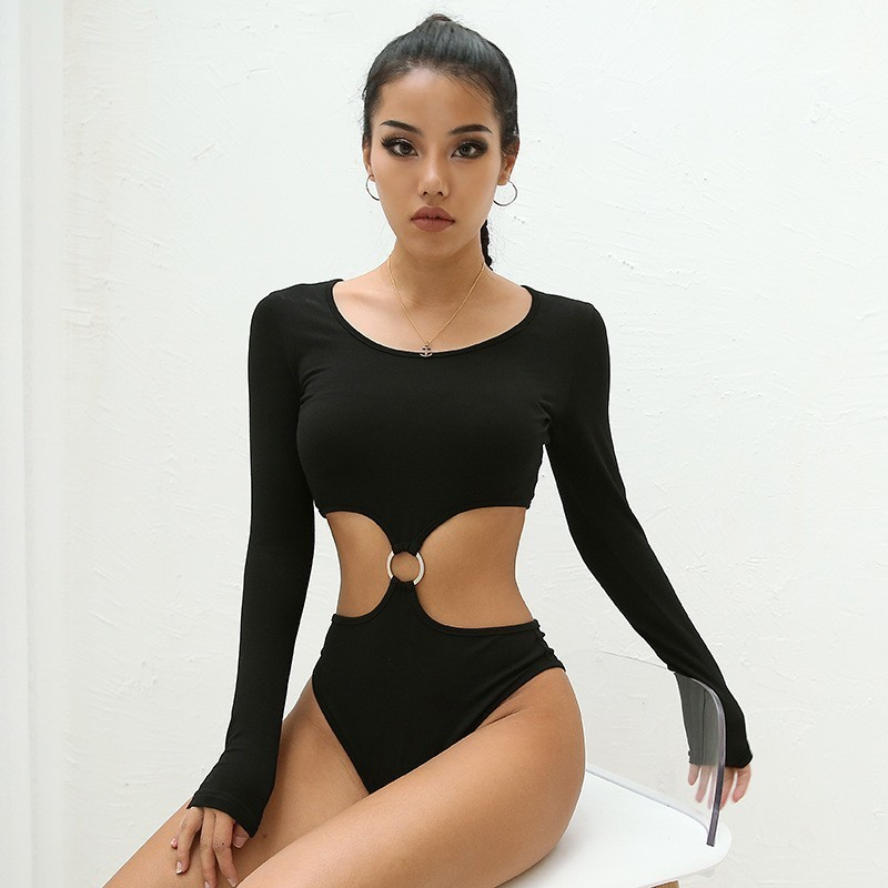 Hollow Out Backless Sexy Bodysuit Women Patchwork Bodycon Black Long Sleeve Bodysuits Women Cotton Body Rompers Womens   Jumpsuit