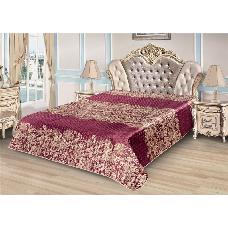 Bedspread Ethel Silk Lace, size 200*220 cm, faux Silk 100% N/E lace insert fitted faux leather skirt