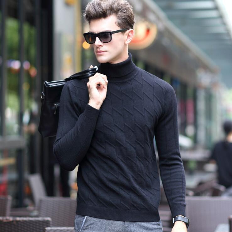 Pullover Turtleneck Sweater Knitted-Fit Long-Sleeve Cashmere Men Tops