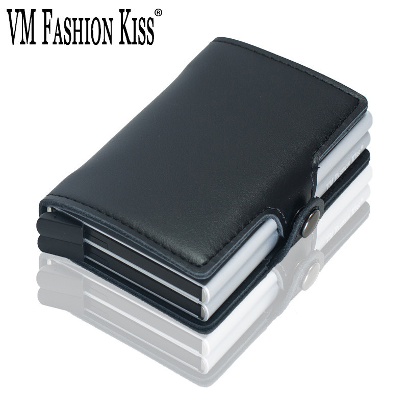 c6eb06a53f61 VM FASHION KISS RFID Wallet Safe Genuine Leather 2 Aluminum Box ...