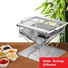 Portable Barbecue Grill MT-045 Stainless Steel Folding Barbecue Grill Barbecue Rack BBQ Oven Grill Net Incinerator