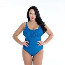 цена Plus Size Swimwear Women One Piece 2019 Push Up Sexy Swimsuit Girl Dress Push Up Bathing Suit Large Size Swimming 8XL Tankini онлайн в 2017 году