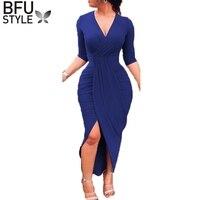 2019 V Neck Blue Dress Women Spring Autumn Bodycon Robe Sexy Longue Split Long Sleeve Office Dress Casual Party Red Vestidos