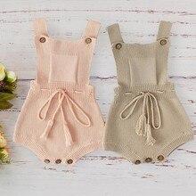 Ropa de lana tejida para bebé, mono de color rosa y caqui, prendas infantiles, otoño 2019