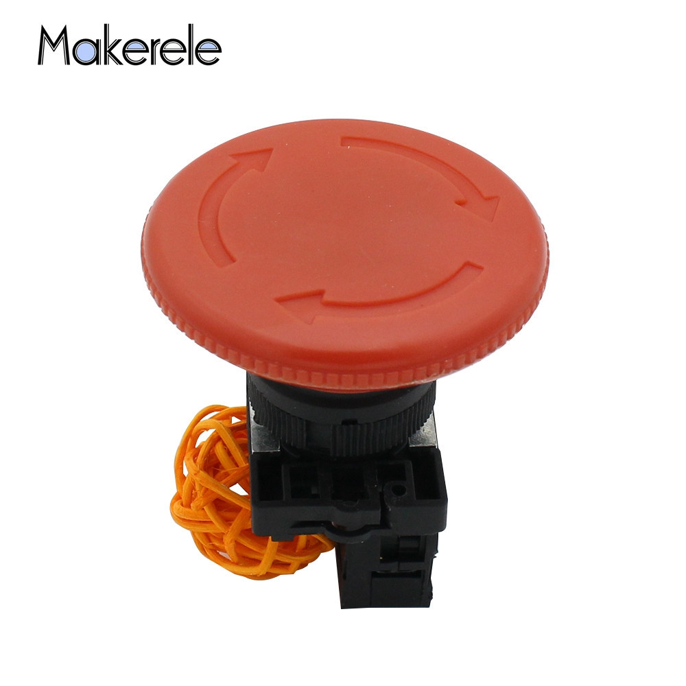 <font><b>60mm</b></font> NC N/C Big Head Red Mushroom Emergency Stop Push <font><b>Button</b></font> Switch 600V 10A 1 PC Free Shipping image