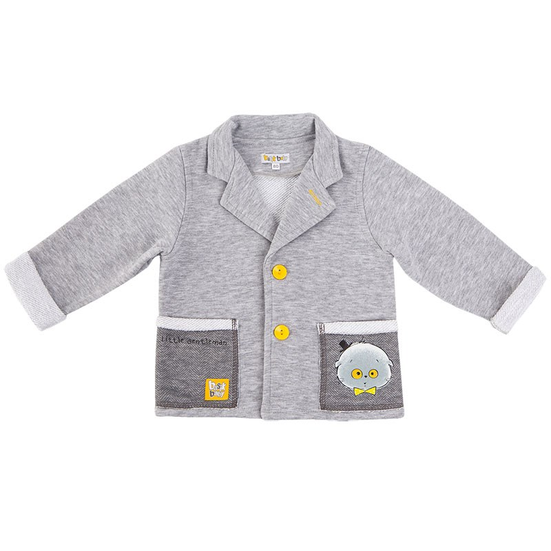 Basik Kids Jersey buttons gray melange basik kids pants with pockets gray melange