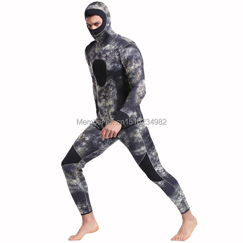 SBART Underwater Thick Warm Men Hooded 3mm Neoprene Spearfishing Wetsuit Two Pieces Diving Suits Surfing Sailing Camo Wetsuits