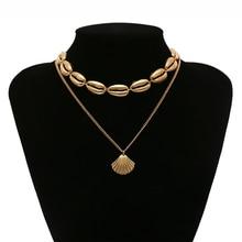 Fashion Gold color Necklace For Women Ocean Seashell Beach Shell Pendants Bohemia Female Choker Statement Jewelry