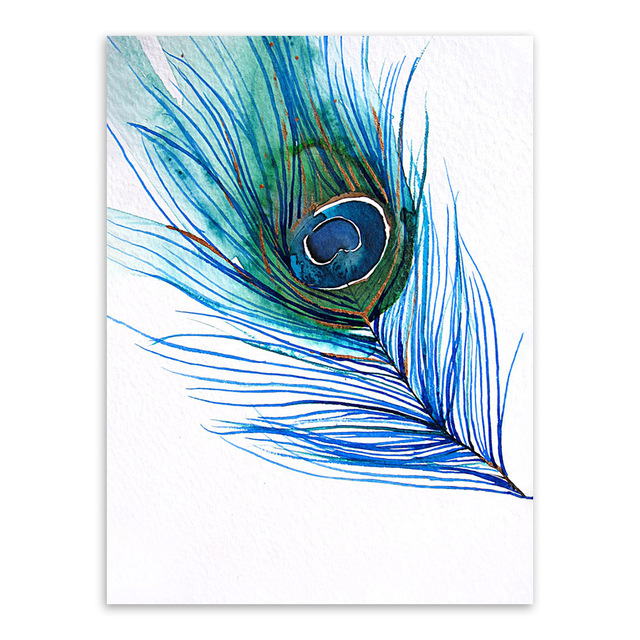Modern Beautiful Blue Peacock Feather Poster Nordic Home Wall Art Print Canvas Painting Picture Decoration Can Be Customized in Painting Calligraphy from Home Garden