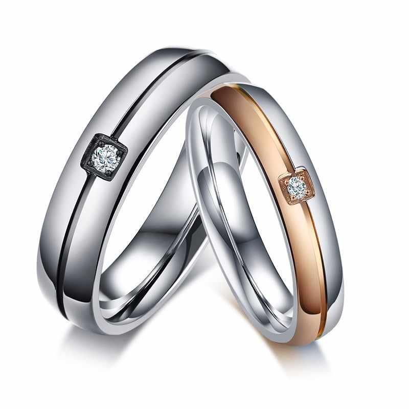 5e69e4987 Couples Amour Anneaux De Mariage Marques de Fiançailles Bijoux zircon  cubique Argolas Femmes Hommes Promis Cadeaux