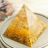 AURAREIKI Orgonite Pyramid 5cm symbolizes the lucky citrine pyramid energy converter to gather wealth and prosperity resin decor