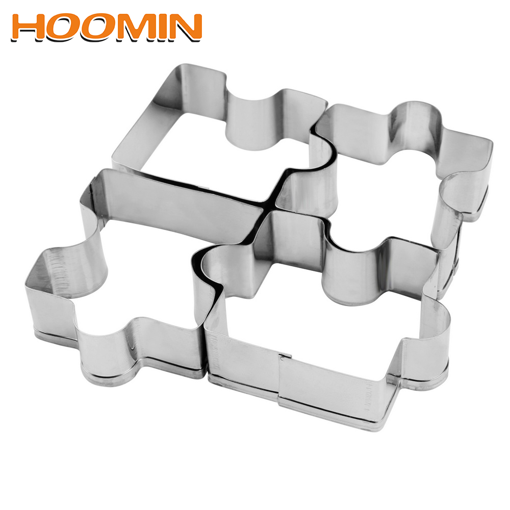 HOOMIN Kitchen Tools Cookie Tools Biscuit Cutter Gadgets 4Pcs/set Cooking Tools Bakeware Stainless Steel Puzzle Pattern