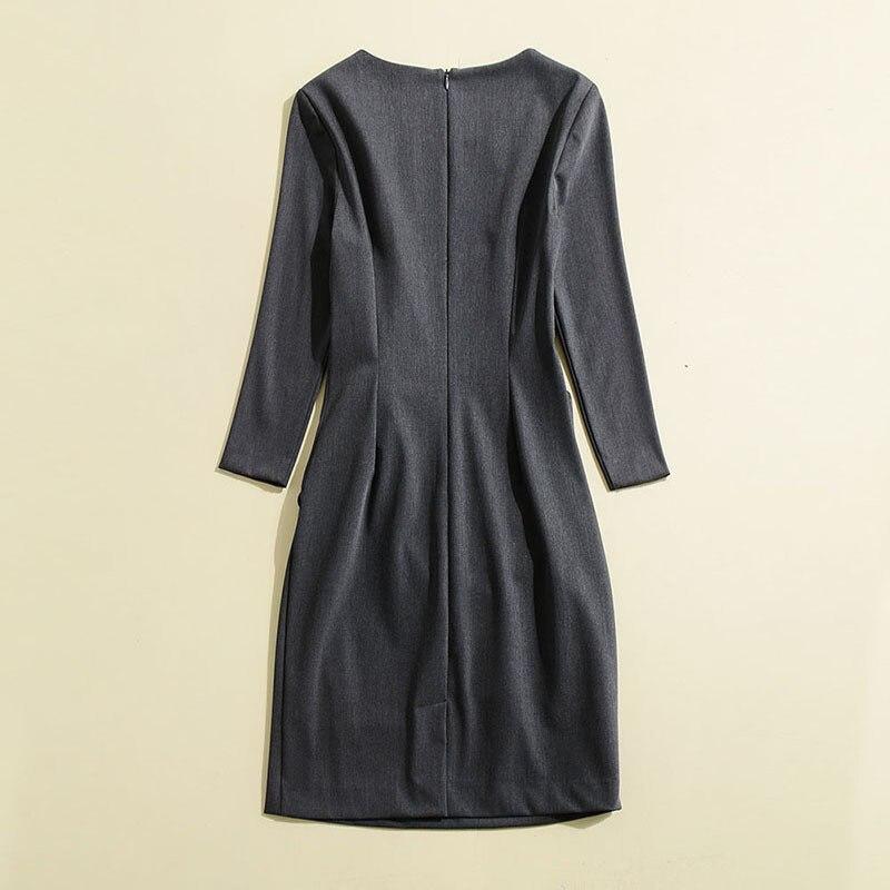 Haute Gris Vêtements Princesse Nouveau Mode Luxe Qualité Ruches 2018 Robes Femmes De Robe Automne Marque Piste CtshrQd