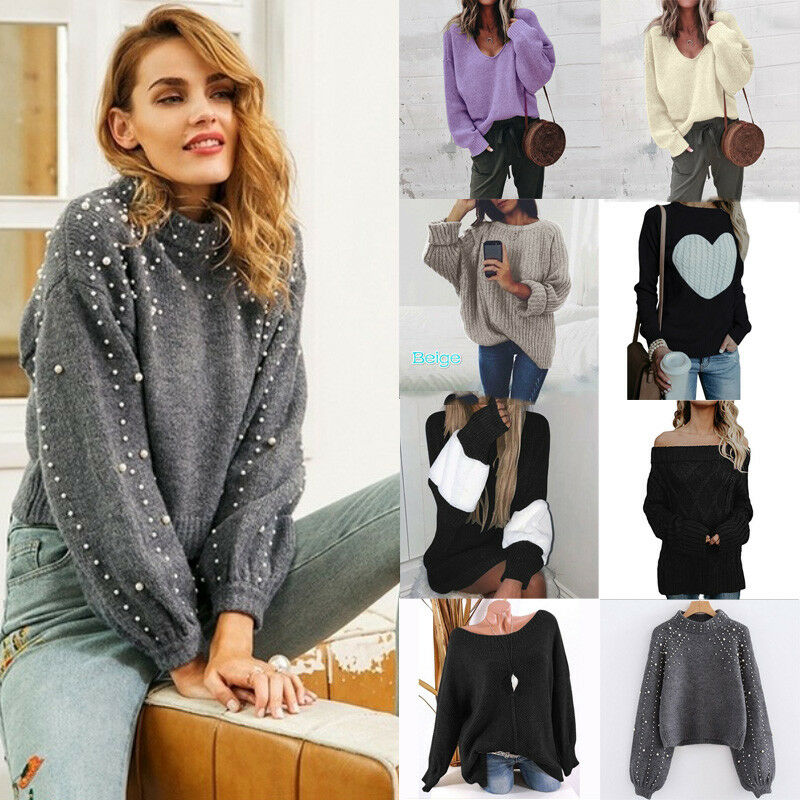 Long Pullover Sweater Sleeve Neck Round Pearl Ladies Winter Tops Outwear Women Pullover Outwear Knitted Sweater