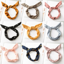Hot Korean Dots Crown Girls Rabbit Ear Ribbon Headwear Heart Soft Strip Hair Band Women Headband