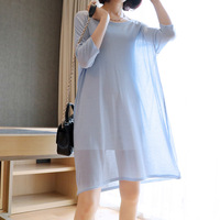 Large Size Ice Silky Dress Long Hollow Knitted Blouse High Street Pullovers 2019 Summer Korean New Women's Loose O Neck